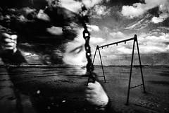 Melanconica-Mente (Effe.Effe) Tags: sea portrait texture beach clouds blurry nuvole mare mood blurred swing nostalgia doubleexposition spiaggia malinconia mosso doppiaesposizione sfocato altalena almenointeoria