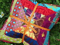 patchwork pillow (joontoons) Tags: colorful quilt handmade sewing pillow fabric scraps patchwork gardenparty annamariahorner joontoons