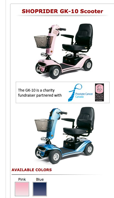 mobility scooters come in pastel pink or blue for prostate/breast cancer funding