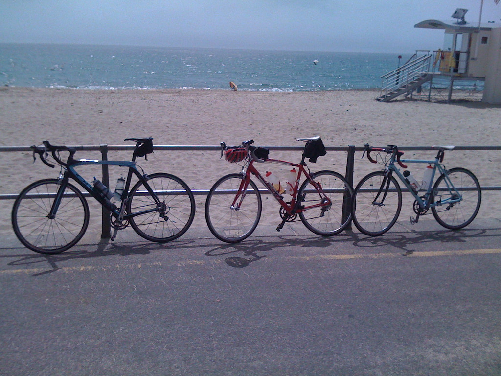 Our bikes on Bosombe beach