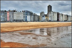 Rainy Day on the Beach (Habub3) Tags: travel panorama house holiday beach architecture strand buildings reflections landscape photo nikon europa belgium explore architektur oostende landschaft nords