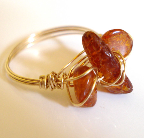 Gold Fill Amber Trilogy Ring