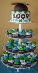 Graduation 2009- Cupcake/Cake Tower (It's All About the Cake) Tags: cake cupcakes graduation fondant buttercream cupcaketower cuppies graduationcap