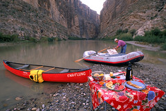 Canoes rafts and canyon
