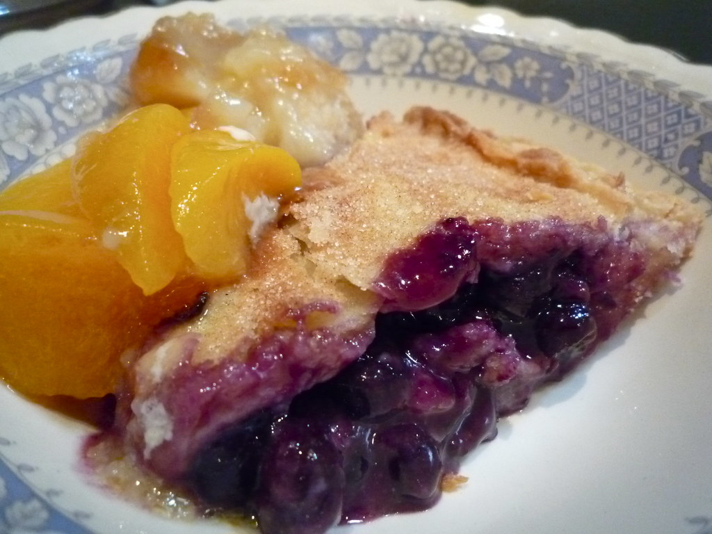 Peach cobbler and blueberry pie