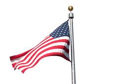 Flag Waving against White Background (DonkeyHotey) Tags: art photomanipulation photoshop photo americanflag manipulation patriotic redwhiteandblue commentary politicalart politicalcommentary donkeyhotey