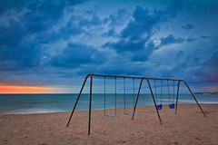Beach Swings - San Clemente, CA | EXPLORED (Justin in SD) Tags: ocean sunset beach water clouds canon pier sand pacific tide swings swing swingset sanclemente canoneos canon60d