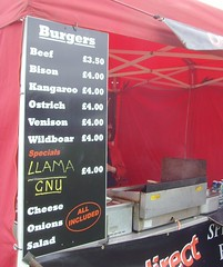 Llama and Gnu burgers are new to me... (Tony Worrall Foto) Tags: show uk england food strange sign menu notice country fastfood north fast meat event eat burgers cumbria taste annual fest gnu flavour kendal wildboar 2011 countryfest llams
