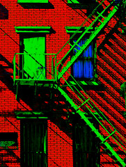 NYC-RGB (Els Pics) Tags: travel blue shadow red usa sunlight holiday newyork colour building green america triangle flickr cityscape vivid complementary fireescape ladder 2008 oca assignment2 taop colorphotoaward colourartaward vividmasters artlegacy