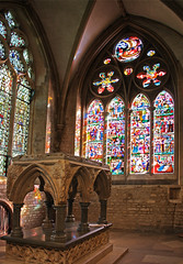 St Frideswide's shrine & window (Lawrence OP) Tags: windows christchurch colour reflection glass shrine cathedral stained oxford burnejones stfrideswide