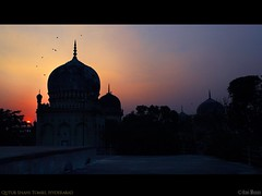 Qutub Shahi Tombs, Hyderabad (rkmenon) Tags: travel sunset india tourism monument colors canon evening twilight colours hues dome 1750 28 skyscapes hyderabad tamron tombs qutub hyd shahi andhrapradesh qutubshahitombs placestovisit rkmenon silheutte ravimenon