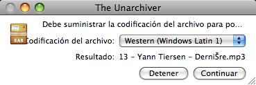 Captura de The Unarchiver con el juego de caracteres descontrolado