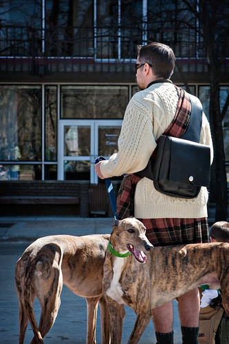 A Man, His Kilt, and His Dogs