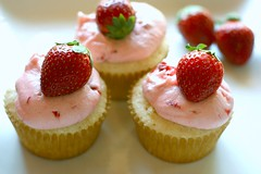 vanilla cupcakes with strawberry frosting (hannah * honey & jam) Tags: pink cupcakes strawberry strawberries vanilla frosting honeyjam pinkcupcakes vanillacupcakes strawberryfrosting honeyandjam hannahqueenphotography