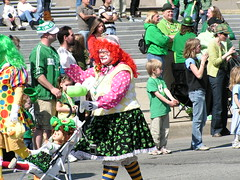 Gender bending clown? (kennethkonica) Tags: red people irish usa white men green america women midwest dolls purple arms sweaters indianapolis fat hats parades indiana jeans polkadots elderly wigs clowns strips obese hoosiers sleeves seniorcitizens stpatrickday indianapolisstpatricksdayparade