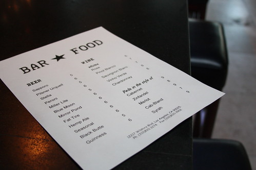 Bar*Food menu