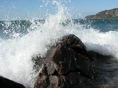 Breaking Waves - Lake Superior (bluecanoecreations) Tags: lake wet water rock waves windy splash lakesuperior breakingwave