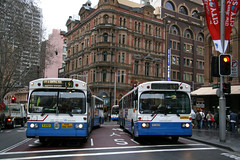 State Transit Authority (Sydney Buses) Mercedes O305G MK III articulateds 2553 and 2579 in Druitt Street at George Street in Sydney, Australia.