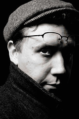 Day 238 - Penn 2 (tdw) Tags: bw selfportrait hat vintage glasses coat study sp recreation titus irvingpenn project365