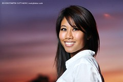 Beautiful girl (Konstantin Sutyagin) Tags: sunset portrait woman girl beautiful smile smiling asian happy young strobist