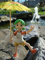 "Field Trip Day! ""This is the fountain in the lake"" (Dreaming Magpie) Tags: lake cute green water fountain girl smile japan umbrella toy outside japanese book friend rocks doll sweet manga plastic fieldtrip kawaii graphicnovel clover grandmashouse yotsuba kyoot revoltech missing3pigtails"