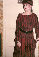 Sue Clowes dress (Brassy Lassy) Tags: black 35mm poser dress spiders gothic goth young makeup posing pale scan nightclub trendy mysterious 1983 lipstick boygeorge blusher cultureclub sueclowes