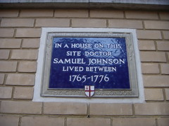 Photo of Samuel Johnson blue plaque