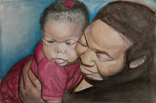 watercolor of a smiling woman holding a baby up to her face
