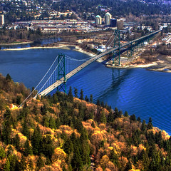 Lions' Gate Bridge (ecstaticist) Tags: ocean park travel bridge canada west green vancouver photoshop coast harbor gate bc pacific suspension harbour first aerial helicopter stanley commute lions hdr narrows photomatix tonemapped tonemapping