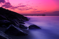 Pink Sunset (A.alFoudry) Tags: bridge pink winter sunset sea cloud motion cold beach rock clouds canon eos rocks slow fishermen full shore frame shutter 5d kuwait usm fullframe ef 1740mm canonef1740mmf4lusm 1740 kuwaiti q8 abdullah sheta canon1740 f4l canoneos5d kuw q80 xnuzha alfoudry abdullahalfoudry foudryphotocom