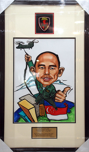 Caricature for Singapore Air Force frame with engraving
