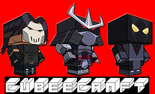 Casey Jones ,Shredder, Foot Soldier papercraft model figures [[ Courtesy of CUBEECRAFT ]]