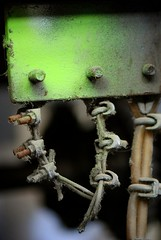 Screws (Tobsen212) Tags: old urban macro berlin green abandoned screw nikon elevator powder dust flour decrepit dov rundown ruinous d80 selectiveconceptualdof
