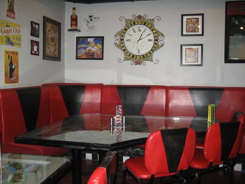 The corner table where we sat when we first started going to Sparky's.