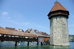 Tower In the Lake II (cwgoodroe) Tags: sun mountain lake snow alps green church statue ferry fairytale swimming switzerland boat europe locals suisse swiss sunny location farms movieset luce swissalps lucern medivil beerpasture
