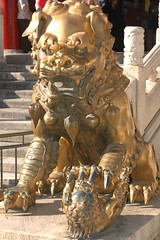 Female Bronze Lion in front of Gate of Heavenly Purity (toadheaven) Tags: china statue bronze beijing lion forbiddencity gateofheavenlypurity