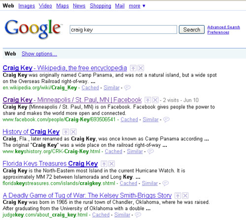 Craig Key Search Results