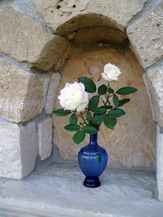 Flowers (Coolblue12) Tags: flowers blue white wall greece vase