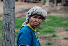 A local Karen tribe woman at our village stop after the second day of trekking