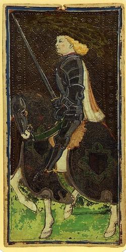 010-El caballo de espadas- Tarot Visconti-Sforza