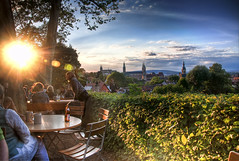 One Evening in the Biergarten (Werner Kunz) Tags: trip travel blue vacation sky cloud sun white holiday green church beer clouds photoshop germany bayern deutschland bavaria europa europe european cathedral euro dom urlaub cyan eu himmel wolken wideangle bamberg franconia german stadt bier 100 40 blau beergarden franken sonne weiss dri hdr hdri overview werner reise biergarten gemuetlichkeit kunz photomatix 20fav explored colorefex nikond90 topazadjust werkunz1