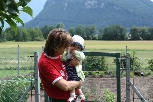 checking the veggie garden with oma