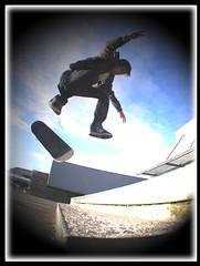 KYLE NOLLIE BACK HEEL TR2 FEATHER (Benihanna) Tags: light motion colour photoshop skateboarding feather plymouth fisheye skateboard borders tr2 feathering kyleelliott