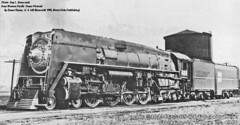 Western Pacific Railroad GS 64 Class 4-8-4 steam locomotive # 484. Stockton California 1950. From the internet.