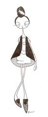 maicen (Maicen) Tags: woman cute girl fashion illustration hair shoes drawing casual vest simple maicen