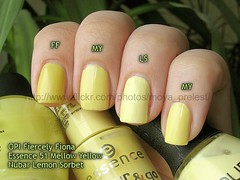 OPI Fiercely Fiona / ESSENCE 51 Mellow Yellow / NUBAR Lemon Sorbet (Silk) Tags: yellow pastel creme mellowyellow essence nailpolish comparison opi lemonsorbet nubar fiercelyfiona