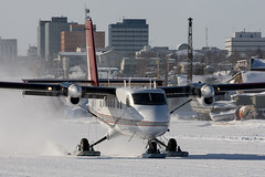 Starting off (Jason Pineau) Tags: airplane nt aircraft aviation twin nwt otter skis northwestterritories takeoff yellowknife skiplane dehavilland yzf airtindi dhc6 cyzf cgmas