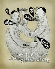 _ (pearpicker.) Tags: hairy illustration hurt twins drawing knife siamese hate pearpicker