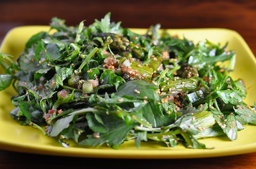 Mizuna and watercress salad with roasted asparagus, toasted sesame and garlic-soy dressing