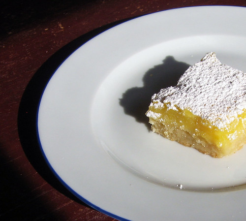single lemon bar on table